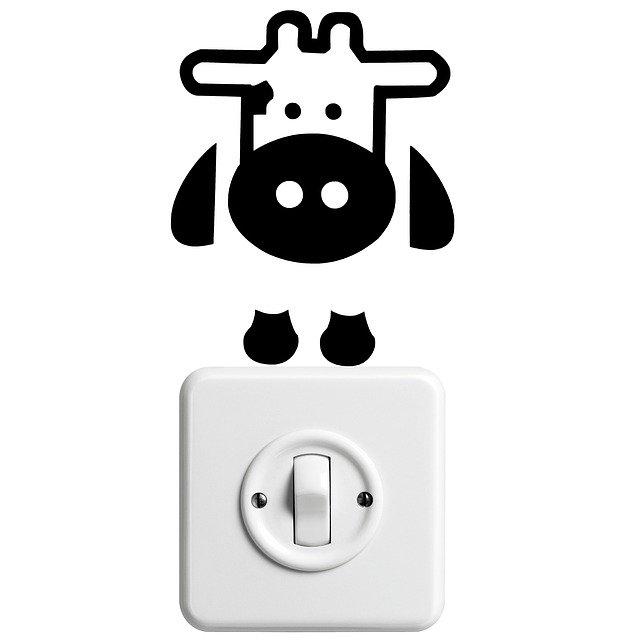 spínač světel s kravičkou